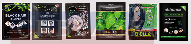 black hair shampoo packaging